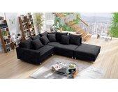 Küchen-Preisbombe Sofa »Modernes Sofa Couch Ecksofa Eckcouch in Gewebestoff schwarz mit Hocker Minsk R«, Ecksofa + Hocker