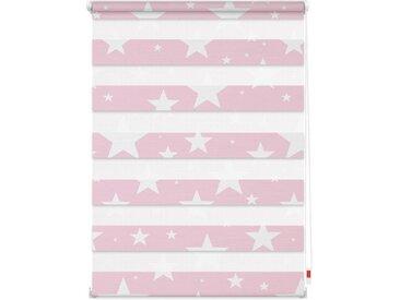 LICHTBLICK Doppelrollo »Duo Rollo Motiv Sterne«, Lichtschutz, ohne Bohren, freihängend, bedruckt, rot, rosa
