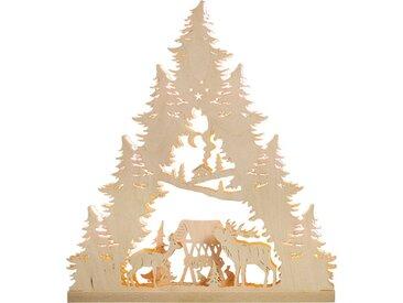 Weigla Schwibbogen »Hirschfamilie«, 7-flammig, Pyramidenform