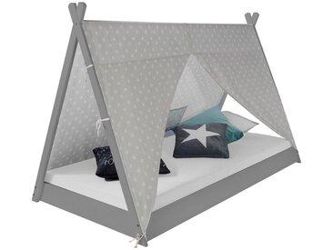 Homestyle4u Hausbett »Kinderbett TIPI 90x200 Jugendbett weiß grau«, Tipi-Zelt mit Sternenstoff und Lattenrost, 90x200 cm, grau, grau - grau