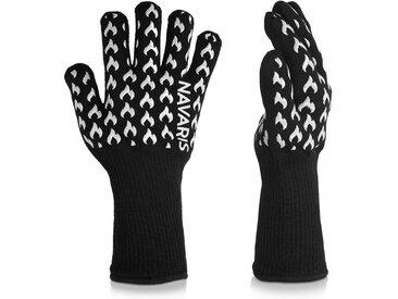 Navaris Grillhandschuhe, Grill Handschuhe feuerfeste Ofenhandschuhe - hitzebeständig bis 500°C - Kochhandschuhe für Ofen BBQ Grillen - mit Silikon