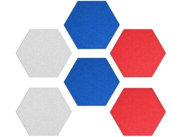 Navaris Pinnwand, Filz Memoboards Set sechseckig - 6x Filzboard 15x17x1,5cm mit Stecknadeln und Klebeband - für Küche und Büro