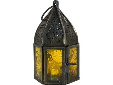Guru-Shop Laterne »Orientalische Metall/Glas Laterne in..«, gelb, gelb-mehrfarbig