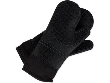 relaxdays Topfhandschuhe »Ofenhandschuhe Silikon«, schwarz, Schwarz