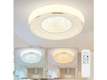 etc-shop LED Deckenleuchte, LED Deckenleuchte dimmbar mit Fernbedienung Deckenlampe LED Wohnzimmer Kristall, Farbtemperatur verstellbar mit Nachtlicht