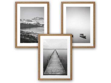 Kreative Feder Poster, Fokus, Natur, Landschaft, See, Küste, Meer, Wasser, Boot, Schwarz-Weiß, Fotografie (Set, 3 Stück), 3-teiliges Poster-Set, Kunstdruck, Wandbild, wahlw. in DIN A4 / A3, 3-WP102