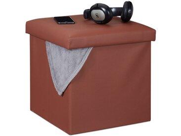 relaxdays Sitzwürfel »Hocker mit Stauraum«, braun, Braun