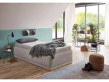 Westfalia Schlafkomfort Polsterbett »Texel«, Komforthöhe mit Zierkissen, inkl. Bettkasten bei Ausführung mit Matratze, weiß