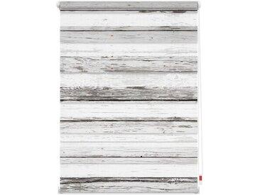 LICHTBLICK Doppelrollo »Duo Rollo Motiv Bretter-Vintage«, Lichtschutz, ohne Bohren, freihängend, bedruckt, weiß, weiß-grau