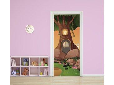 Bilderdepot24 Deco-Panel, Türaufkleber - Kinderbild Baumhaus