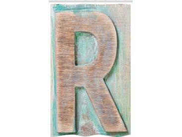 Abakuhaus Duschvorhang »Badezimmer Deko Set aus Stoff mit Haken« Breite 120 cm, Höhe 180 cm, Buchstabe R Alphabet Briefbeschwerer-R