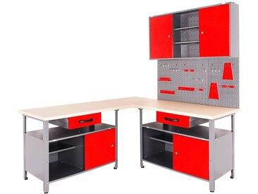ONDIS24 Werkstatt-Set 4-tlg., mit 2 Werkbänken, Werkzeugschrank & Lochwand, rot, rot/anthrazit