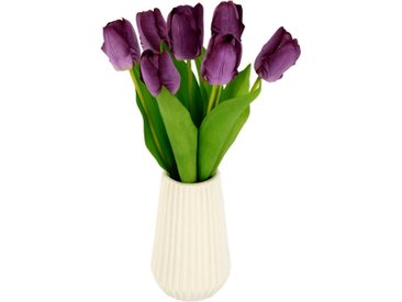 I.GE.A. Kunstblume »Real-Touch-Tulpen«, Höhe 33 cm, Vase aus Keramik, lila, violett