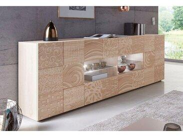 LC Sideboard »Miro«, Breite 241 cm mit dekorativem Siebdruck, natur, Eichefarben sägerau mit Siebdruck