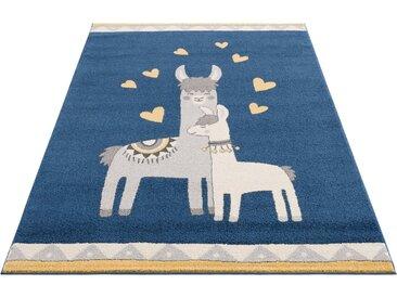 Lüttenhütt Kinderteppich »Lamas«, rechteckig, Höhe 14 mm, weiche Haptik, blau, blau