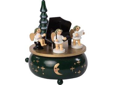 HGD Holz-Glas-Design Spieluhr Engel mit Klavier aus Massivholz, grün, Grün