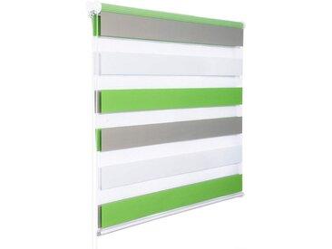 Woltu Doppelrollo, Duo Rollo Klemmfix ohne Bohren im Fixmaß, grün, weiß-grau-grün