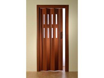 Kunststoff-Falttür »Luciana«, BxH: bis 88,5x202 cm, kürzbar, Fenster mit Riffelstruktur, braun, 88.5 cm, mahagonifarben