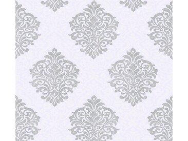 Architects Paper Vliestapete »Alpha«, glatt, glänzend, Barock, matt, mit Ornamenten, silberfarben, hellgrau-silberfarben-weiß
