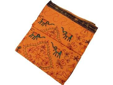 Guru-Shop Tagesdecke »Bestickte indische Tagesdecke, besticktes..«, orange, orange