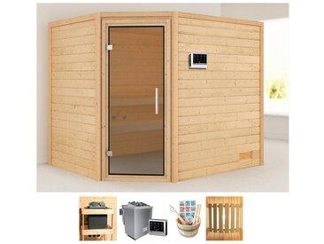 Karibu KARIBU Sauna »Lisa«, 231x196x198 cm, 9 kW Bio-Ofen mit ext. Strg, Glastür graphit, natur, 9 kW Bio-Ofen mit externer Steuerung, natur