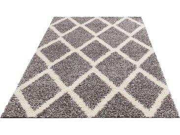my home Hochflor-Teppich »Linz«, rechteckig, Höhe 31 mm, dichter Flor, grau, grau-weiß