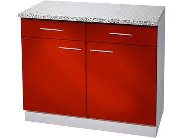 wiho Küchen Unterschrank »Kiel« 100 cm breit, in Tiefe 50 cm, rot, Burgund/Hellgrau