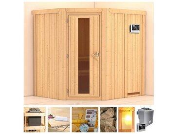 KONIFERA Sauna »Esther«, 196x170x198 cm, 9 kW Bio-Ofen mit ext. Strg., Energiespartür, natur, 9 kW Bio-Kombiofen mit externer Steuerung, natur