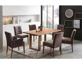 expendio Essgruppe »Oldwig«, (Spar-Set, 9-tlg), Massivholztisch Eiche rustikal 160x90 cm + Stühle / Sessel Agnes 2 Velours Falcon