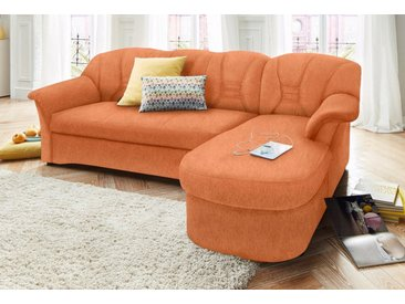DOMO collection Ecksofa, orange, ohne Federkern-mit Bettfunktion, terrakotta