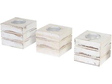 MCW Teelichthalter »T601« (Set, 3er-Set), 3er-Set, Skandinavisches Retro-Design, Komplett fertig montiert, weiß, weiß