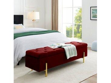 Leonique Bettbank »Aubrey«, Sitzfläche gesteppt, mit Strauraum, rot, rot