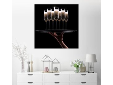 Posterlounge Wandbild, Tablett mit Champagner, Acrylglasbild