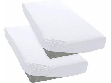 my home Spannbettlaken »Microfaser«, schnell trocknend, weiß, 2 St., weiß