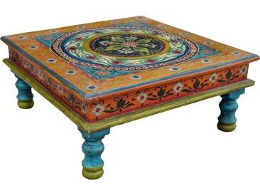 Guru-Shop Couchtisch »Bemalter kleiner Tisch, Minitisch, Blumenbank -..«, Ornament blau/gelb