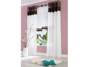 Home affaire Gardine »Gander«, Ösen (2 Stück), Vorhang, Fertiggardine, halbtransparent, braun, schoko