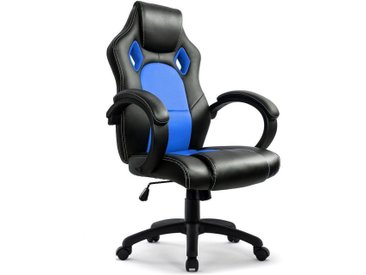 Intimate WM Heart Gaming-Stuhl, Racing Gamer Stuhl, Hoch Rücken Ergonomischer Bürostuhl, Gaming Drehstuhl, Schreibtischstuhl, Büro Chefsessel, Kunstleder, Blau