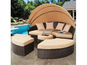 Mucola Gartenmöbelset »Polyrattan Sonneninsel 180CM Gartenmuschel Sonnenliege Loungebett Gartenmöbel Strandkorb«, (4-tlg), braun, Braun