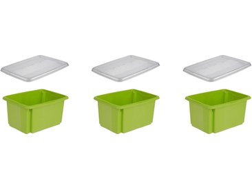 keeeper Aufbewahrungsbox »emil« (Set, 3 Stück), mit Dreh-/ Stapelfunktion, grün, grün