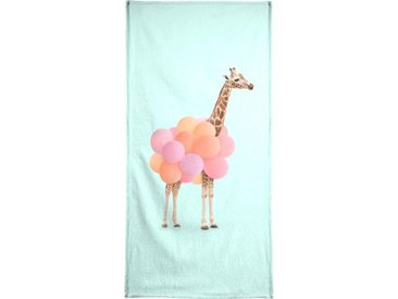 Juniqe Strandtuch »Party Giraffe« (1-St), Weiche Frottee-Veloursqualität