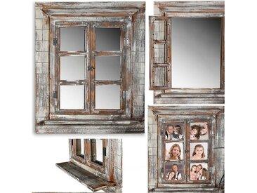 Mucola Wandspiegel »Spigel Bilderrahmen Fotorahmen Holz Ablage Dekospiegel Garderobenspiegel Foto Flur«