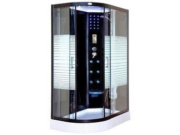 HOME DELUXE Komplettdusche »Black Pearl L«, BxT: 120x80 cm, Sicherheitsglas, 1-tlg., mit Tropenbrause, Beleuchtung und Radio