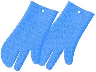 Kochblume Topfhandschuhe »Silikon Handschuh«, (Spar-Set, 2-tlg), Hitzebeständig bis 230°, blau, hellblau