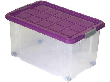 BigDean Aufbewahrungsbox »Eurobox mit Deckel und Rollen 60 x 40 x 33 cm brombeer Griffe silber«