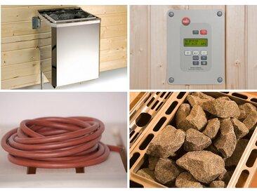 weka WEKA Set: Bio-Kombiofen »BioS«, 4,5 kW, externe Steuerung, inkl. Zubehör, silberfarben, silberfarben