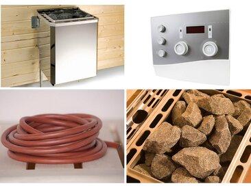 weka WEKA Set: Bio-Kombiofen »Technikpaket 2«, 9 kW, externe Steuerung, inkl. Zubehör, silberfarben, silberfarben