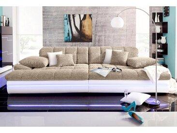 Nova Via Big-Sofa, braun, Mit Kaltschaum-ohne Kopfteilverstellung-LED-Beleuchtung, weiß-cappuccino