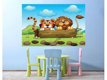 Bilderdepot24 Deco-Panel, selbstklebende Fototapete - Kinderbild - Löwe und Tiger Freundschaft, bunt, Farbig