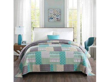 Woltu Tagesdecke, Bettdecke in Patchwork-Design grün