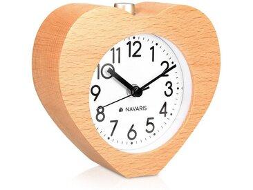Navaris Reisewecker Analog Holz Wecker mit Snooze - Retro Uhr im Herz Design mit Ziffernblatt Alarm Licht - Leise Tischuhr ohne Ticken - Naturholz